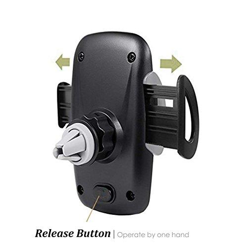 iAmotus - Soporte de Coche para teléfono móvil con Rejilla de ventilación de 360° Ajustable para iPhone X 8 7 6S Plus 5S Samsung Galaxy S8 S7 S6 Edge Nexus y Smartphones con Dispositivo GPS