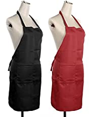 Yellow Weaves Polyester Waterproof Apron, 22 x 30 Inches (Black and Red) - Set of 2