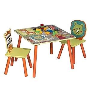 WOLTU 3tlg. Kinder Sitzgruppe Waldtiere Tisch & Stuhlsets, Kindertisch mit 2 Stühle Sitzgruppe für Kinder Vorschüler Kindermöbel Möbelset, SG006