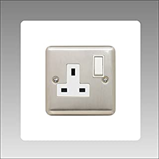 Single Socket Surround | square | acrylic back panel or finger plate | 3mm thick | 16 colours (black, grey white, ivory, blue, brown, green and many more) available, font colour:white