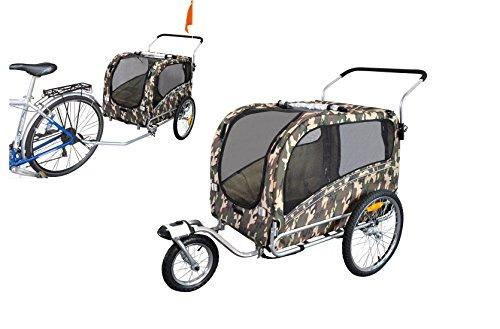 polironeshop Argo remorque et poussette pour transport chien chien animaux chariot chariot remorque Remorque de vélo jogger poussette chien porte, Mimétique