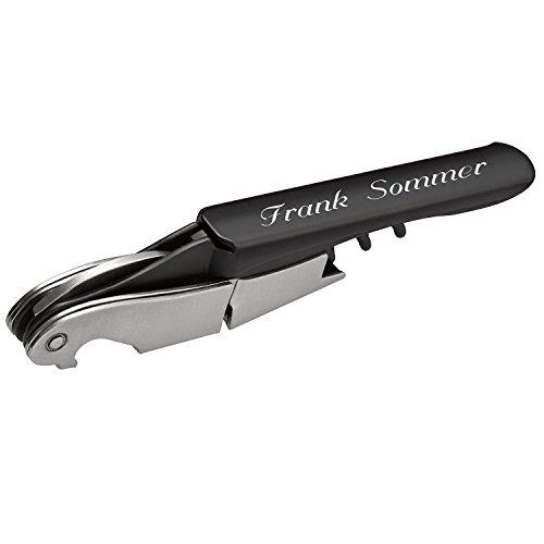 Cadenis Sommeliermesser mit persönlicher Laser-Gravur Korkenzieher Kellnermesser aus Stahl in schwarz