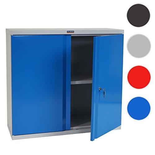 Valberg Aktenschrank T330, Metallschrank Büroschrank Stahlschrank, 2 Türen 84x92x37cm ~ Blau