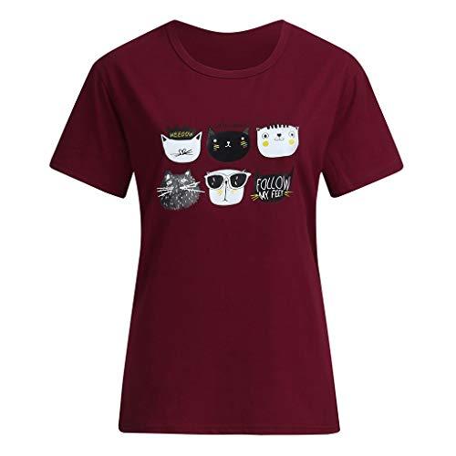 CUTUDE Damen T Shirt, Bluse Sommer Frauen Freizeit Animal Brief Druck Kurzarm T-Shirt Tops (Wein, XXX-Large) -
