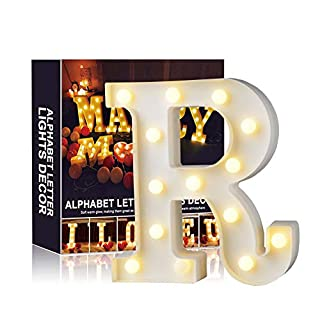 A-Z Alphabet Light White LED Night Lamps Plastic Letter Standing Hanging Lighting for Wedding Party Bedroom Xmas Decoration by Moobom (R)