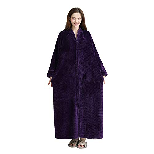 ChYoung Damen Herren Reißverschluss-Front Plüsch Flanell Robe Loose Fit Bademantel Ganzkörperansicht Paar Pyjamas