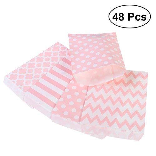 Toymytoy 48 pezzi sacchetti di carta caramella bustine borse con motivo pois striscia per compleanno, regalo, matrimonio,18x13cm (rosa)