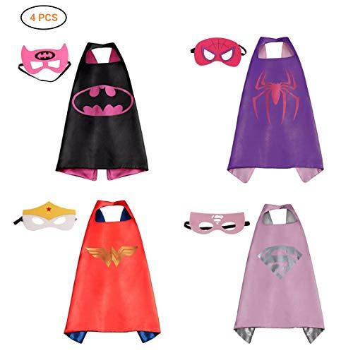 Comics Cartoon Heros Dress up, Kostüme 4 Satin Capes, Filz-Masken für Mädchen 4pcs.Halloween Kinder Cosplay