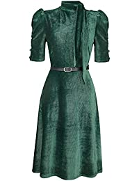 VOODOO VIXEN Penelope Velvet Dress Medium-Length Dress Green 528b14518