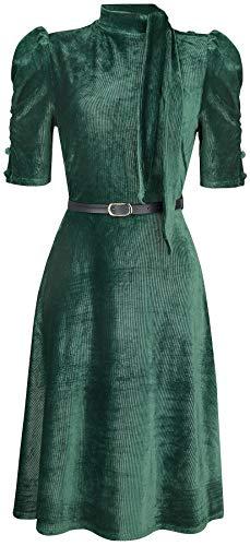Voodoo Vixen Penelope Velvet Dress Mittellanges Kleid grün XXL