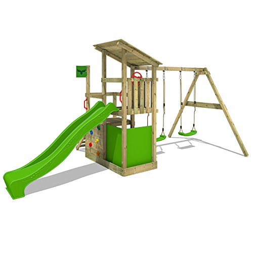 With two swings, a slide with water connection, secret den, and climbing stones, this playset is perfect for children with different interests. It's a solid unit made of pressure-treated wood with high-resistance to elements.