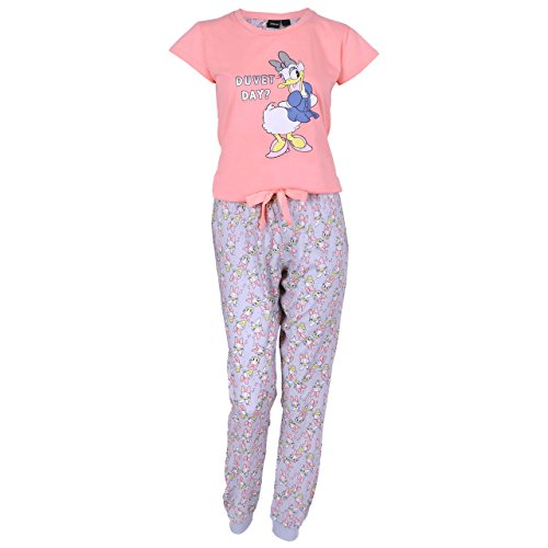 DISNEY - Daisy Duck, Damen 2tlg. Schlafanzug-Set, Pyjama, Nachtwäsche, Neonrosa - 36-38 / UK 10-12 / EU 38-40 - Daisy-duvet-set
