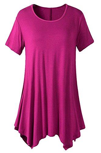 SMITHROAD Damen Sommer T Shirt Kurzarm Rundhalsausschnitt Asymmetrisch mit Falten  Oberteil Tunika Loose Fit Übergröße Pink