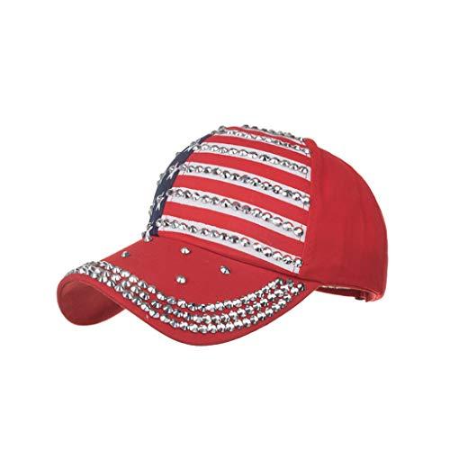 Knowin-Hut Sommer Amerikanische Flagge Fünfzackiger Stern Druckte Baseballmützekappen Sonnenhut der Elektrischen Bohrmaschine Baseballmütze Klassische Baumwolle Verstellbare, Einfache Kappen
