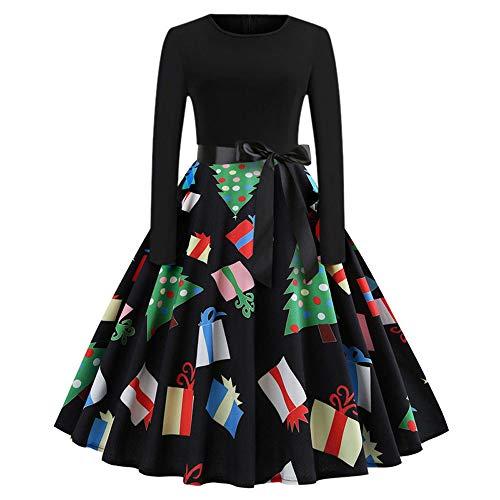 iCerber Damen Kleid Weihnachtskleider Vintage Kleid Langarm Oansatz Abend Party Swing Kleid Festliche Cocktailkleider Party Kleider FüR Weihnachts LäSsig Weihnachtenkleid