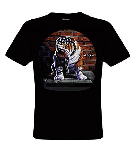 DarkArt-Designs Tuff Dog - Hunde T-Shirt für Kinder und Erwachsene - Tiermotiv Shirt Wildlife Biker Rocker Lifestyle Regular Fit, Größe152/164, Schwarz (Hund Erwachsene T-shirt Schwarz)