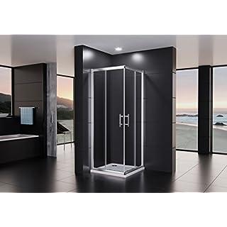 Duschmeister Duschkabine Royalux Neo 90x90 cm Höhe 195 cm mit Nano Clean Versiegelung für Lotuseffekt Eckeinstieg mit Schiebetüren Duschabtrennung Glasabtrennung Dusche Glasdusche