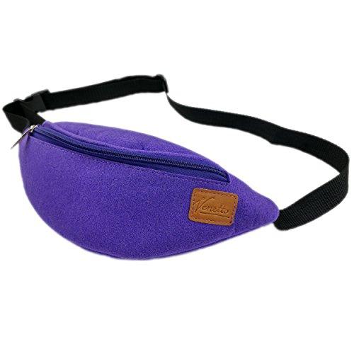 Gürteltasche Bauchtasche Hüfttasche Tasche Wandertasche Sporttasche Trekking Wandern bag aus Filz mit Echtleder-Applikationen (Grau) Lila