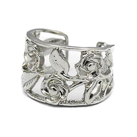 Plain Silver Colour Rose Flower Ear Cuff Clip On Wrap Cartilage Helix Non Pierced Punk Earring UK SELLER