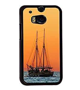 Boat in the Sea 2D Hard Polycarbonate Designer Back Case Cover for HTC One M8 :: HTC M8 :: HTC One M8 Eye :: HTC One M8 Dual Sim :: HTC One M8s