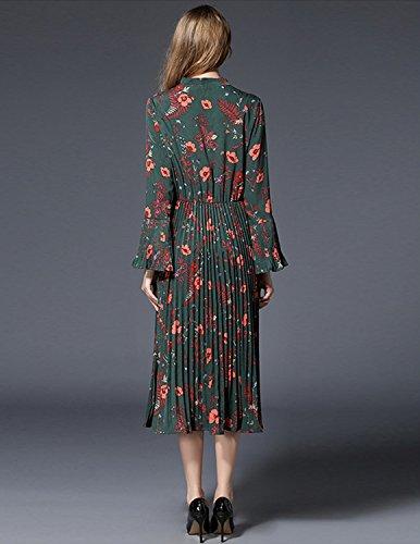 MODETREND Damen Faltenkleid mit Trompetenärmeln und Blüte Drucken Retro Spleiß Abendkleid Partykleid Cocktailkleid Sommerkleid Grün