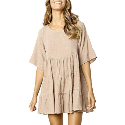 MOIKA Damen Kleid Einfarbig A-Linie Plissiert Minikleid Casual Loose Hülsen Sommerkleider Rundhals Kurze Ärmel Abendkleid (Roaring Twenties Passt)