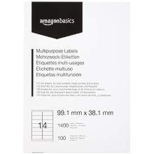 AmazonBasics Étiquettes multi-fonction pour adresse, 99.1mm x 38.1mm, 100 planches, 14 étiquettes par planche, 1400 étiquettes
