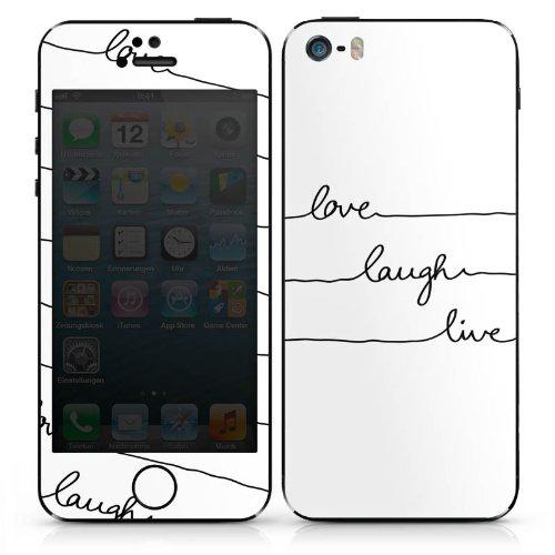 Apple iPhone 4 Case Skin Sticker aus Vinyl-Folie Aufkleber Lebe Liebe Lache DesignSkins® glänzend