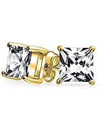 349151ef198a Bling Jewelry Hombre Vermeil Corte Princesa Oro CZ Plata Esterlina stud Arete  7mm