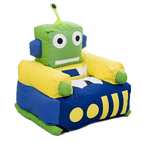 Kinder Möbel Sofa, Nylon-Stoffhülle EPS Partikel Gefüllt Thema Roboter Grün Sessel (Size : 52×65×75cm) -