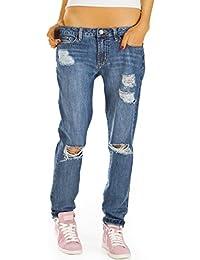 Bestyledberlin Damen Jeans Hosen, Baggy Boyfriend Jeans, Hüftjeans Destroyed Style j80kw