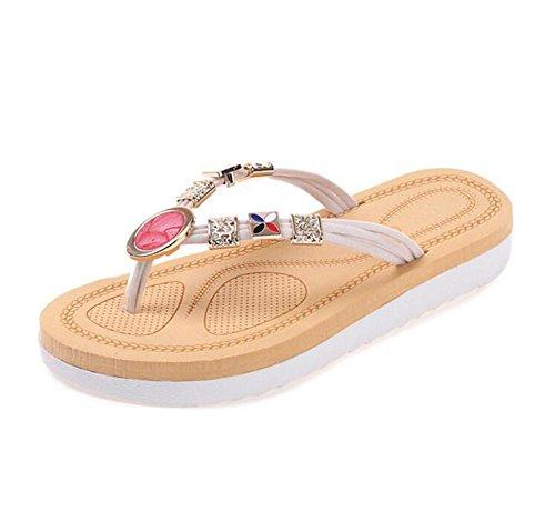 LDMB Damen / Frauen Flip Flop Strand Schuhe Dickes Ende des Wortes Drag the Diamond Toe Bequeme weiche Unterseite mit dem Temperament weiblichen Hausschuhen meters white