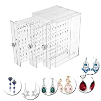BUONDAC Earring Holder Stand Acrylic Earring Display Stand Organiser Clear Storage Case (18 * 14 * 13)
