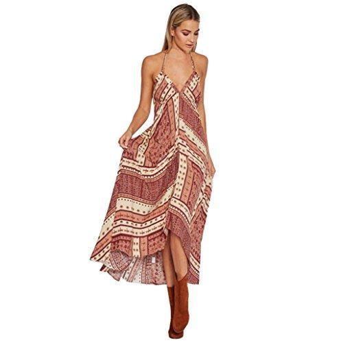 Rcool Frauen-Blumen-Sleeveless Sommer-V-Ansatz Kleid Boho langes Maxi Abend-Partei-Strand-Kleid (M, Rot)
