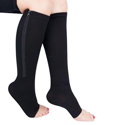 YiZYiF Unisex Compression Knee High Stockings with Zipper Open Toe Socks Plus Size
