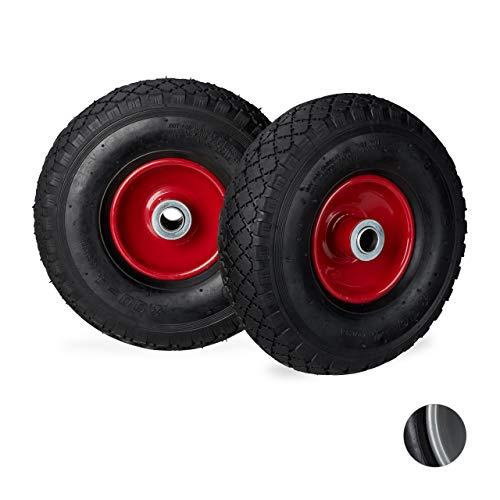 Relaxdays Sackkarrenrad 3.00-4, 2er Set, luftbereift, bis 200 kg, 260 x 85 mm, Ersatzrad mit Stahlfelge, schwarz-rot -