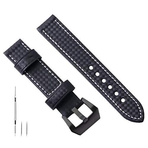 Uhrenarmband Leder 24mm Kohlefaser Geprägte Uhrenarmband Für Männer Kompatibel mit Panerai Armband