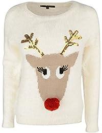 Heart & Soul Women's 'Union Reindeer' Knitted Sequined Pom Pom Christmas Jumper