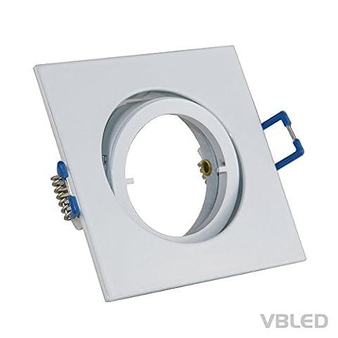 Einbaustrahler / Druckguss-Rahmen für Halogen und LED inkl. GU10 Fassung (Ohne Leuchtmittel) Flach mit Schnellverschluss, Schwenk- und Dimmbar (eckig weiß