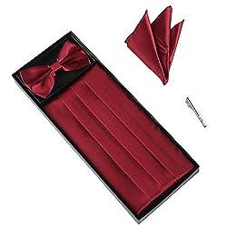 Elviros Mens Silk Bow Tie and Grossgrain Cummerbund Set with a Pocket Square Solid Color