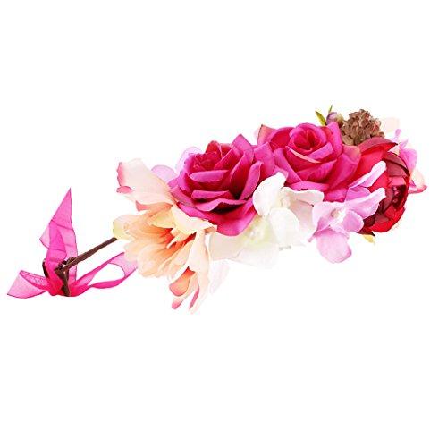 Homyl Baby Mädchen Kinder Blüten Haarband Kopfband Boho Blume Stirnband Haarkranz Halo Blumengirlande Krone - Stil 4