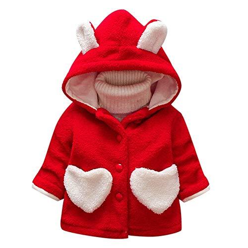 Quaan Kinder Äußere Bekleidung (12M-3T) Herbst Winter Mädchen Säugling Kinder zur Seite Fahren Ohr Herz Warm Dick Mit Einem Hoodie Outfits Oberteile Jacke Weich beiläufig Winddicht Sport Outwear