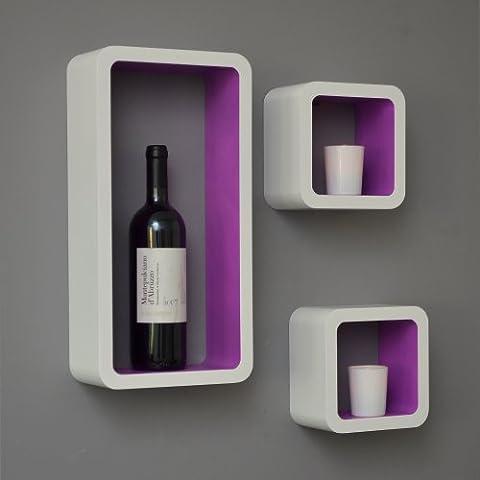 3 set lounge shelf cube design bookshelf retro CD DVD wall shelf white purple