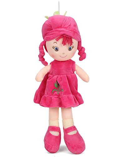 My Baby Excels Plush Doll for Girls of Age 1 Year and Above | Size - 21 Inch | Stuffed Cuddly Soft Toy | Premium Quality - Import | Certified Safe (EN71) | Dark Pink Colour