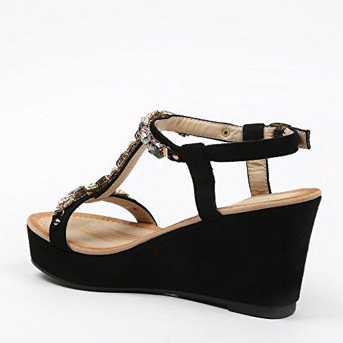 Ideal-Shoes Sandali compensate effetto pelle con fascia T strassée Natacha Nero (nero)