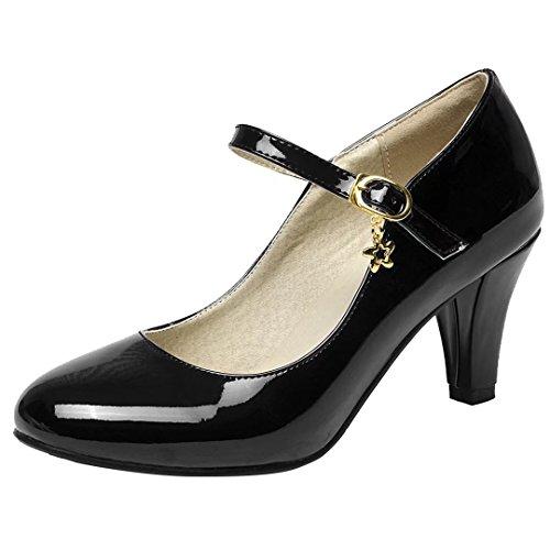 AIYOUMEI Damen Lack High Heels Pumps mit 7cm Asbatz Mary Janes Damenschuhe Hochzeit Pumps