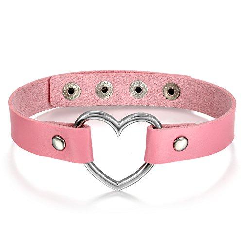 Oidea donna cuore collare in pelle choker pink, punk rock in pelle catena collana girocollo con ciondolo a forma di cuore regolabile