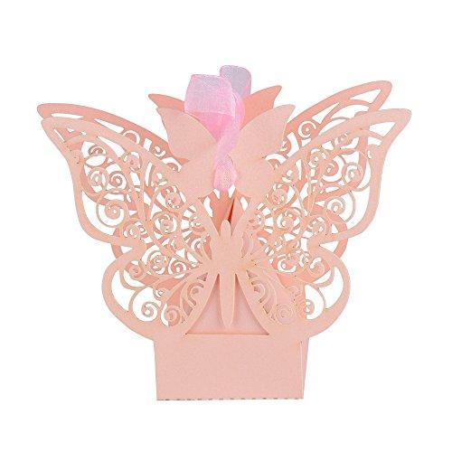 100 pz scatole farfalla per confetti scatoline rosa perlato bomboniere portaconfetti segnaposto regalo per matrimmonio comunione battesimo