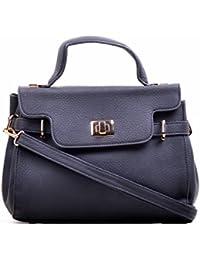 Hopping Street Stylish Elegance Fashion Black Color Faux Leather Handbag for Women