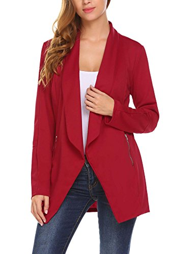 Unibelle Blazer Damen Lang Cardigan Tailliert Elegant Casual Jacke Blazer Slim Fit Anzug Trenchcoat